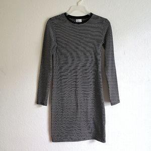 H&M Womens Tight Stretch Stripped Mini Dress Black